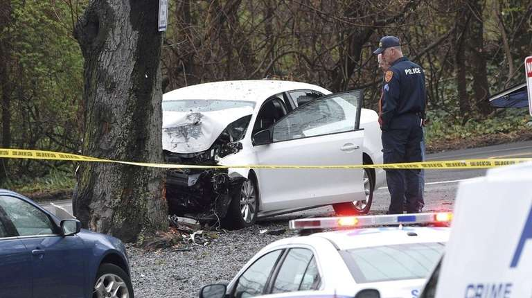 Police at the scene of a crash Wednesday