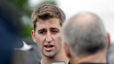 NFL Draft prospect Josh Rosen talks with the