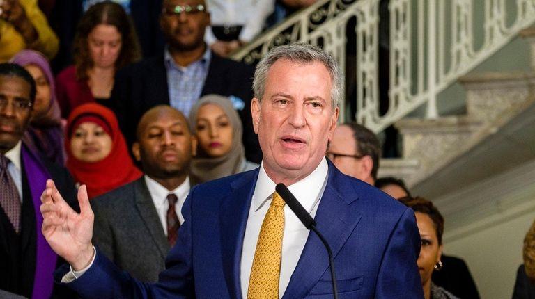 NYC Mayor Bill de Blasio, at an unrelated
