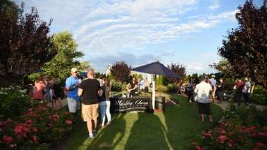 Concertgoers sample wine at the FOLD Festival at