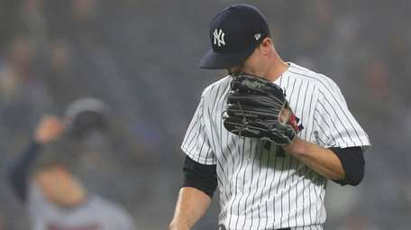 Sonny Gray of the Yankees leaves the game