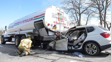 The scene of a crash involving a fuel