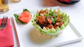"""Gobi Manchurian"" is a savory, deep-fried, then stir-fried"