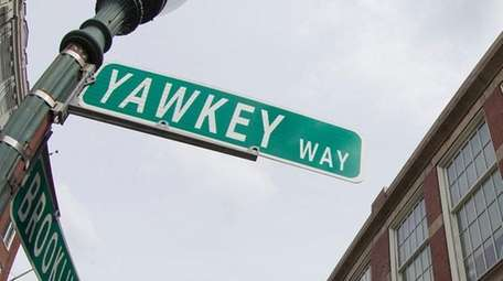 The street sign for Yawkey Way outside of