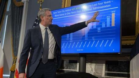 Mayor Bill de Blasio presents New York City's