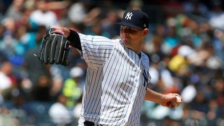 Yankees starter Jordan Montgomery pitches against the Minnesota