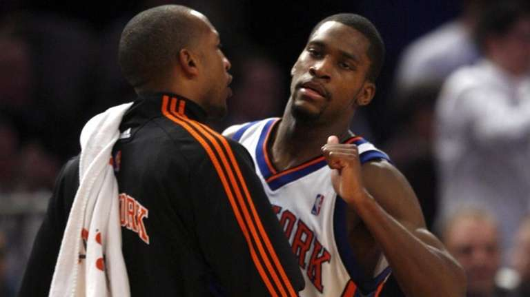 New York Knicks #23 Toney Douglas is congratulated