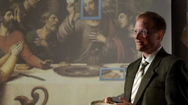 Prof. Brian Wansink, holds a plate illustrating how