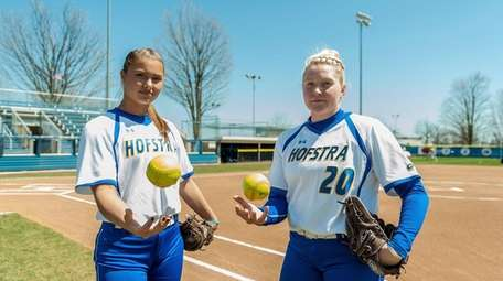 Hofstra Uninversity softball pitchers Sophie Dandola, left, and