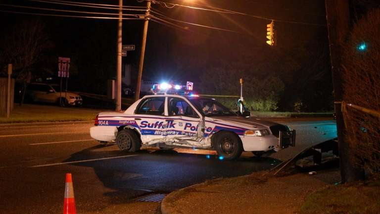 A Suffolk County Police officer was airlifted to
