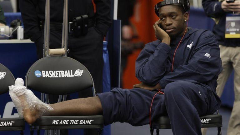 West Virginia's Darryl Bryant looks on during NCAA