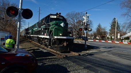A New York and Atlantic Railway train, the