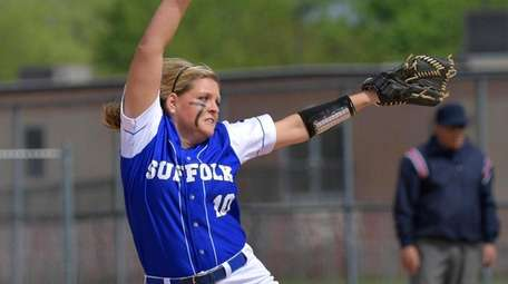 Suffolk CCC pitcher Cori Augustine throws during the