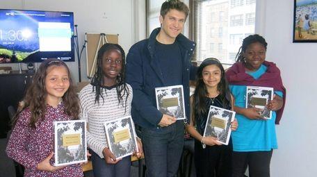Author and actor Keegan Allen with Kidsday reporters,