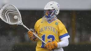 Jack Concannon, Hofstra goalie, charges upfield against Monmouth