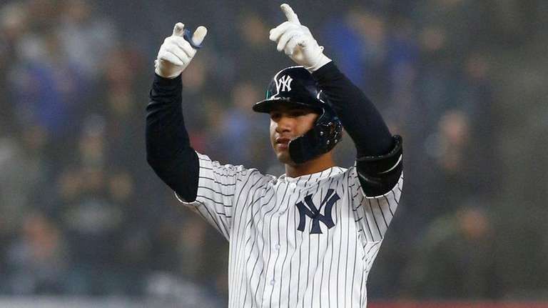 Gleyber Torres of theYankees reacts at second base
