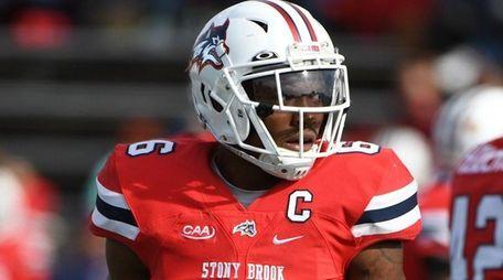 Stony Brook defensive back Tyrice Beverette looks on