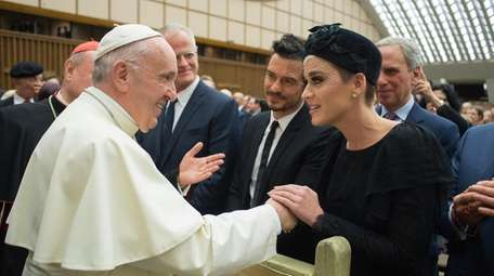 Pope Francis meets with Orlando Bloom and Katy