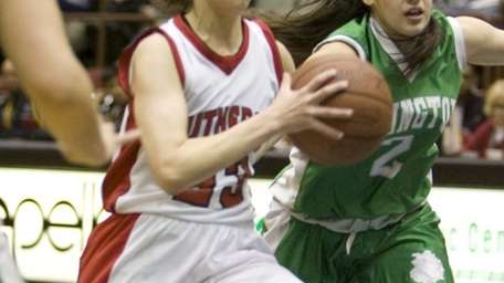 L.I. Lutheran's Paige Kriftcher drives past Kelly O'Donnell