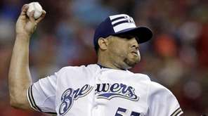 Francisco Rodriguez of the Milwaukee Brewers pitches the