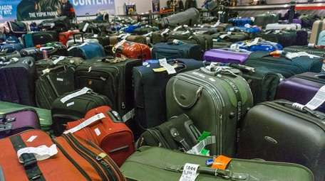Luggage at Kennedy Airport's Terminal 4 at the