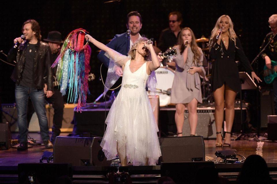 """Nashville"" stars Jonathan Jackson, left, Clare Bowen, Charles"