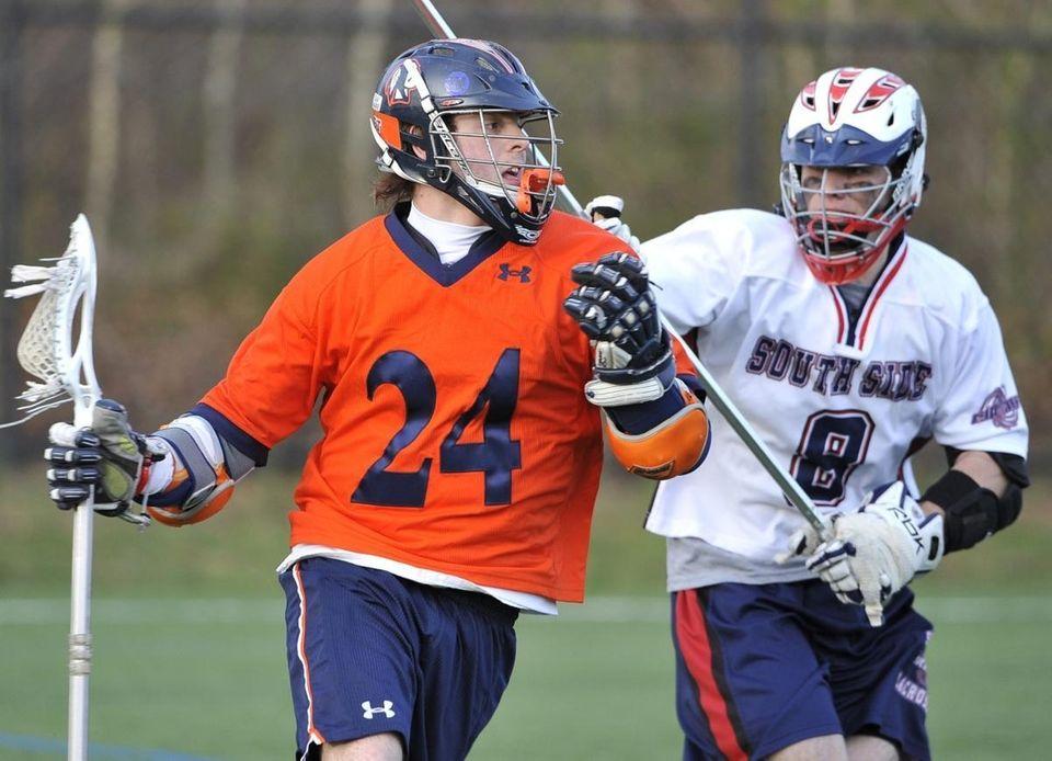 Manhasset's Matt Thomkins keeps the ball away from