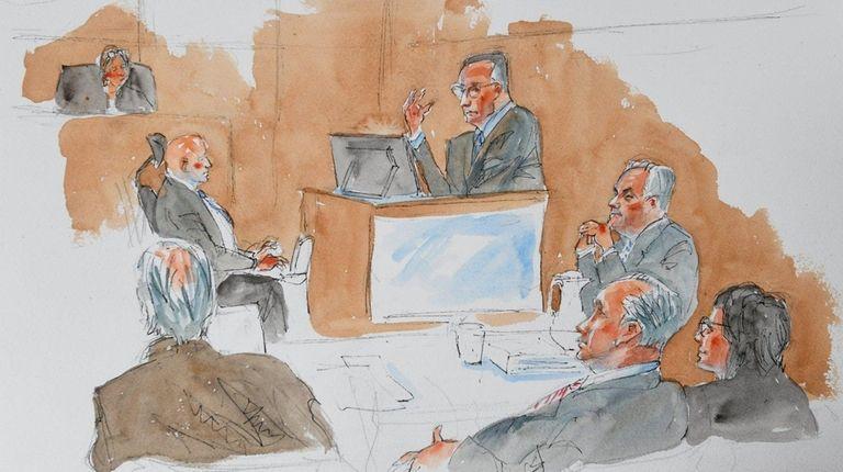 A courtroom sketch of Leonard Genova.