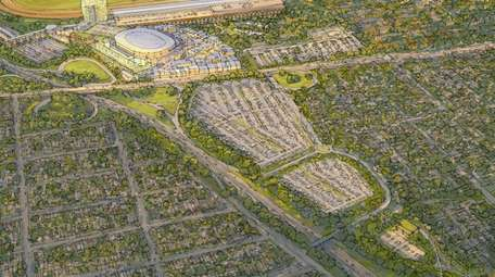A rendering of the redevelopment of Belmont Park.