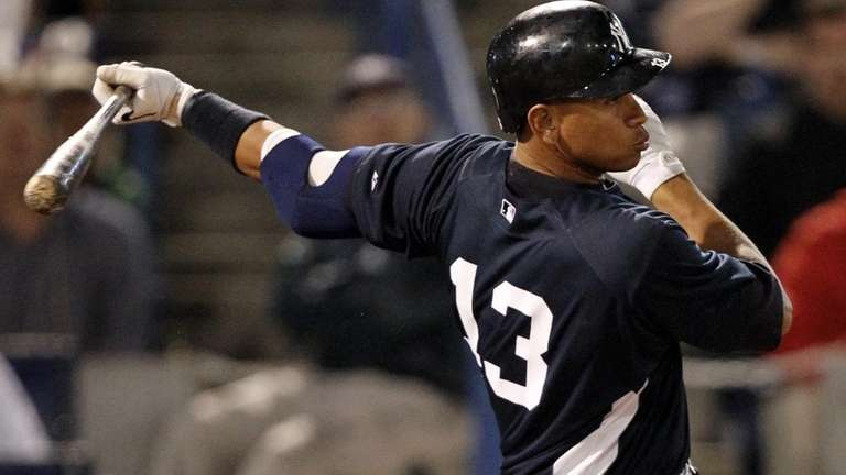 New York Yankees' Alex Rodriguez grounds out in