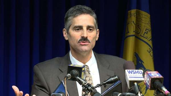 Suffolk County Executive Steve Levy shows his deficit