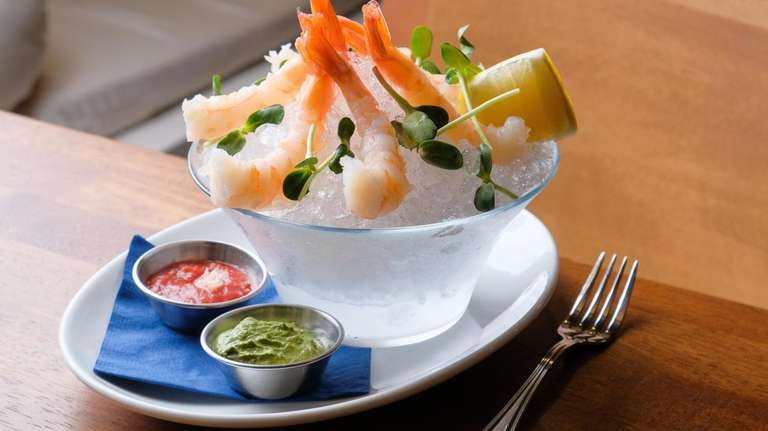 Poached and chilled gulf shrimp served with green