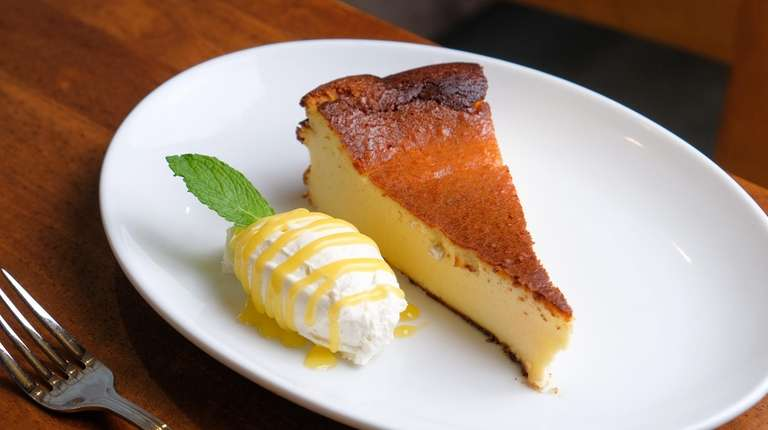 Basque burnt ricotta cheesecake with meyer-lemon curd as