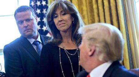 President Donald Trump talks to Southwest pilot Tammie