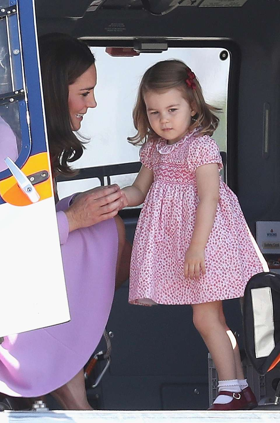 Princess Charlotte inside a helicopter at Hamburg airport
