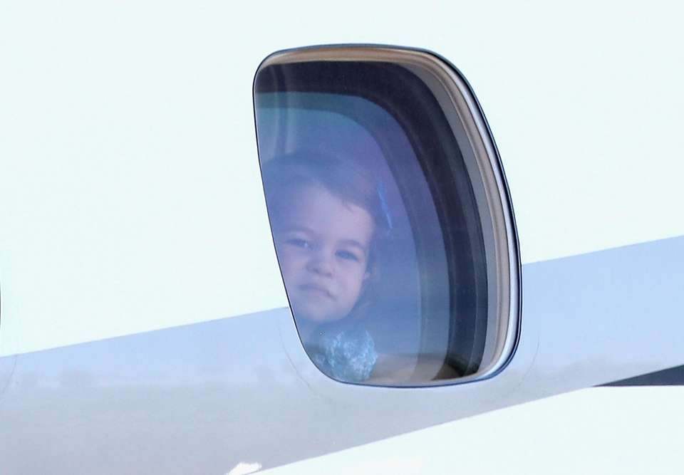 Princess Charlotte inside her family's plane at Berlin