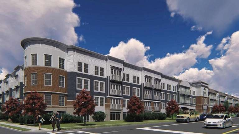 A rendering of the proposed multifamily apartment complex,