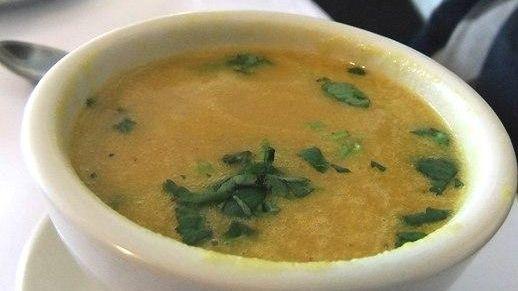 Mulligatawny soup is served at Punjabi Kabab House