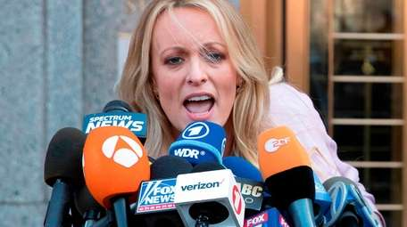 Adult film actress Stormy Daniels appears outside federal