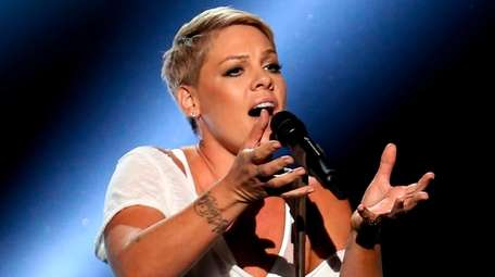 Pink performs at the Grammy Awards at Madison