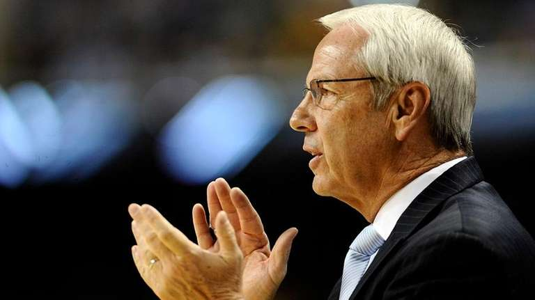 North Carolina basketball coach Roy Williams is used