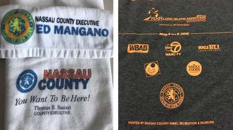 Long Island Marathon swag from past races, left,