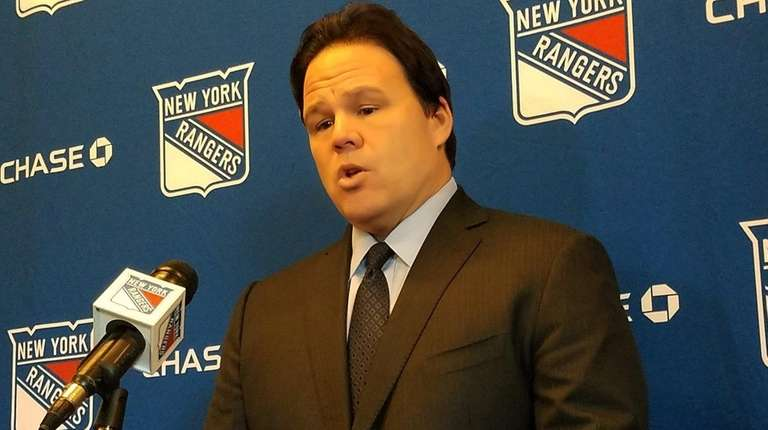 Rangers GM Jeff Gorton at a news conference