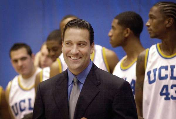UCLA basketball coach Steve Lavin smiles during media