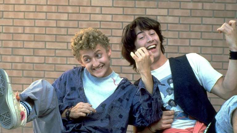 Actors Keanu Reeves, right, as Ted, and Alex