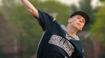 Eastport-South Manor relief pitcher Kyle Fessler throws against