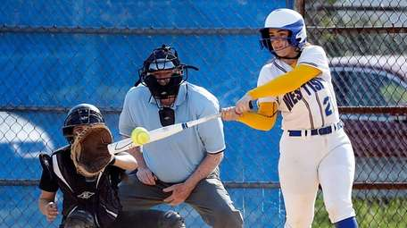 West Islip's Brianna Adams drives a two-run double