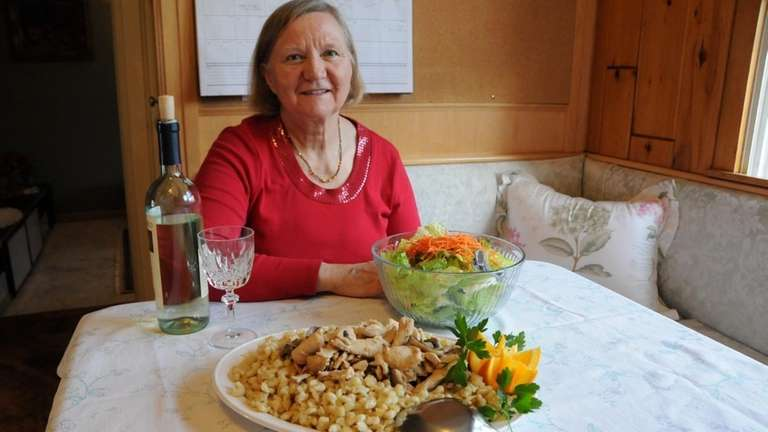 Rosemarie Bajaj with her home-cooked meal in East