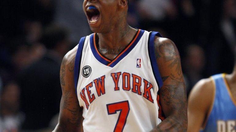 New York Knicks forward Al Harrington (7) celebrates