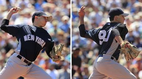 In this photo combo, New York Yankees pitcher
